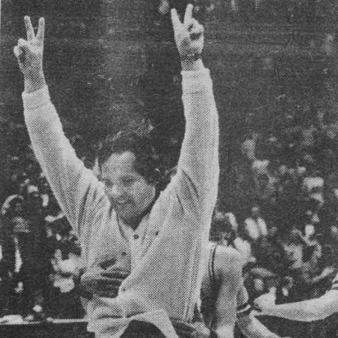 Jim Mueller celebrating the Jeeps' 1977 Sectional championship at Memorial Gym in Huntingburg.   It was the Jeeps first sectional title in school history.