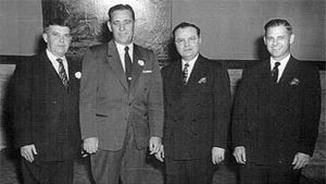"""Arnold Habig (on left) with A. C. """"Shimmy"""" Sermersheim, Ray Schneider and Herb Thyen, the founding member of the original Jasper Corporation which later became Kimball International."""