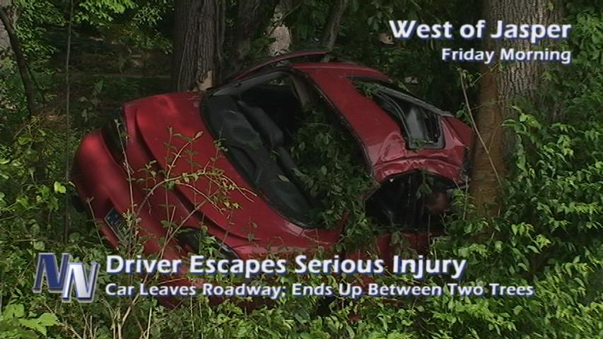 Local Woman Escapes Serious Injury After Car Leaves Road; Ends Up Against A Tree (VIDEO)