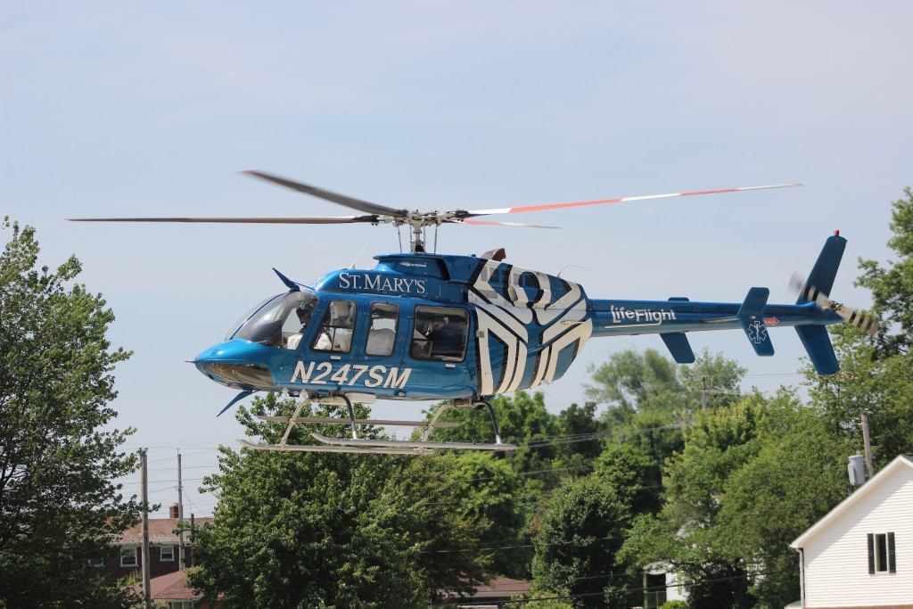 Lifeflight air ambulance leaving Jasper's Memorial Hospital with Kendra Steckler enroute to Louisville. Photo: Indiana DNR