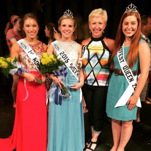 Newly-crowned Ferdinand 175th Queen Kayla Hoffman (2nd from left) is show with First Runner-up  1st Runner-up Lauren, and last year's Queen Shelby.
