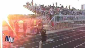 Jasper's Reid Milligan at the finish line two weeks ago winning the 300 Meter Hurdles at the sectional in Jasper.