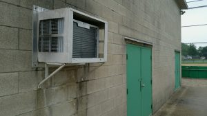 The concession stand at Ireland Youth Sports park.  The air conditioner has been replaced.