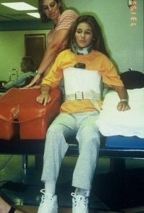 Kelly in the hospital two weeks after the accident