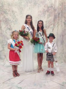 This year's Strassenfest royalty are Miss Strassenfest Camille Ruff (second from left) and Junior Miss Andrea Burkhart (second from right).  They are pictured with twins Ayden (left) and Cole Lampert (right) who are this year's Little Miss and Mister.