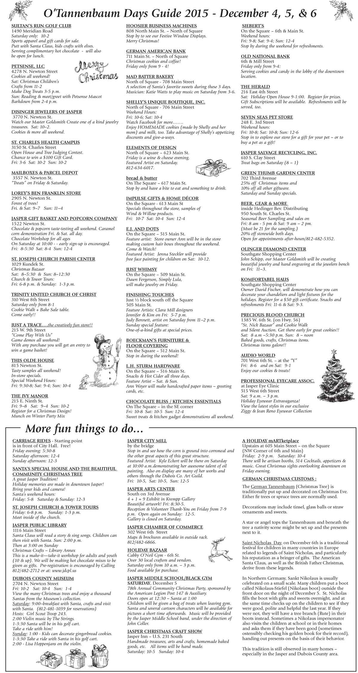 Your Guide For O\'Tannenbaum Days This Weekend In Downtown Jasper ...