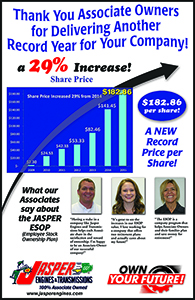 Jasper Engines Transmissions Announces Record Setting Esop Share