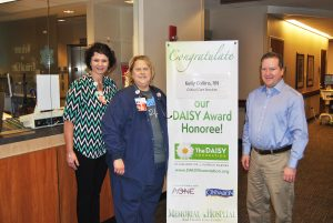 (L-R) Ann Steffe, Director of Critical Care Services; Kelly Collins, Daisy Award Recipient; and Dr. Stan Tretter, VP of Medical Affairs & Chief Medical Officer.