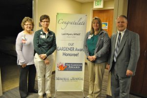 (L-R) Martie Bickwermert, Director of Cardiopulmonary Services; Jan Hobbs, Clinical Manager of Respiratory Home Care/Sleep Center; Lori Myers, Gardener Award Recipient; and John Dillon, VP of Ambulatory Services.