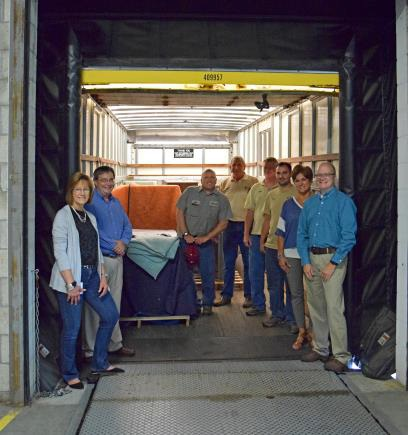 (L-R) Marilyn Satkamp – National, Seating Product Line Associate, Neil Elkins – TRI-CAP, Housing Services Director, Dave Heichelbech – TRI-CAP, Weatherization Building Auditor, Gervase Ebert – TRI-CAP, Quality Control Inspector, Brian Beckman – TRI-CAP, Quality Control Inspector, Craig Schwenk – TRI-CAP, Procurement Coordinator, Angie Kleinhelter – National, Director of Human Resources, Lonnie Nicholson – Kimball International, VP and Chief Administrative Officer